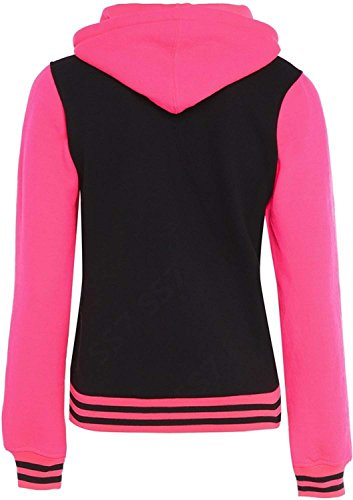 Black Ss7 Neon Donna Lunga Giacca Manica Pink wwq7UI