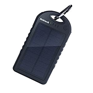 Nekteck Solar Charger 12000mAh Rain-resistant Dirt/Shockproof Dual USB Port Portable Charger Battery Backup Power Pack for All USB Supported Devices, Black