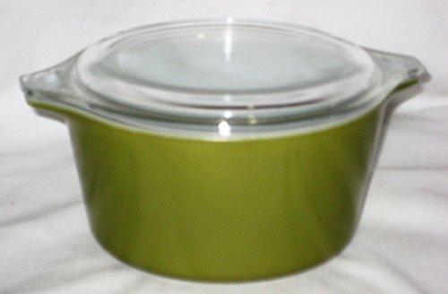 Vintage Pyrex Verde Green 1 Quart Cinderelle Round Casserole Dish w/ Clear Lid (Corelle Round Casserole)