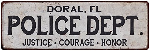 DORAL, FL POLICE DEPT. Vintage Look Metal Sign Chic Decor Retro Old Advertising Man Cave Game Room M6183394 (Mens Doral)