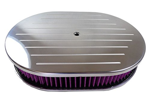 "MotorNets 12"" x 2"" Oval Air Cleaner Set Aluminum Breather Washable Paper Element Chevy Ford SBC BBC Ball-Milled (Washable Element Ball-Milled Polished)"