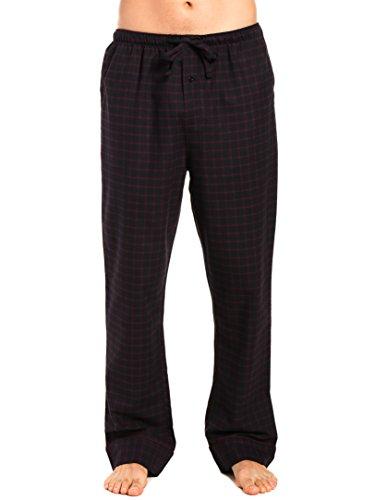 Mens Cotton Brushed Check - Men's Premium Flannel Lounge Pants - Checks - Black-Fig - X-Large