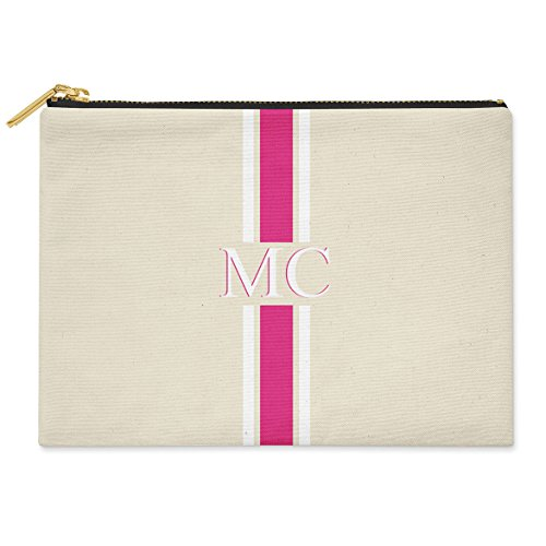PERSONALISED MONOGRAMMED INITIALS PINK & GREY STRIPED COTTON CANVAS CLUTCH BAG POUCH MEDIUM 24CM X 19CM Pink Striped