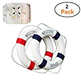 TianJi 2 Packs Wall Decor 9.85in Nautical Theme Buoy Life Ring Decoration For Luau Hawaiian Summer Beach Party Supplies