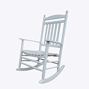 Rockingrocker   A040WT White Porch Rocker/Rocking Chair   Easy To Assemble    Comfortable Size   Outdoor Or Indoor Use