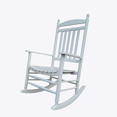 Rocking Rocker - A040WT White Porch Rocker / Rocking Chair - Easy To Assemble - Comfortable Size - Outdoor or Indoor Use