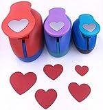 "TECH-P Creative Life 3 PCS (1.5"",1"",5/8"") Heart Shape Craft Punch Scrapbook Paper Cutter Eva Foam Hole Punches Valentines Gift Set"