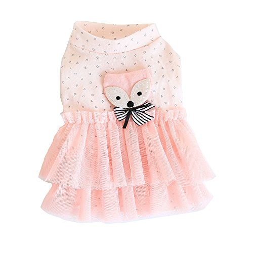 BBEART Pet Clothes, Small Dogs Clothing Sweet Pink Princess Dress Girl Dog Tutu Skirt Clothing Puppy Cat Apparel Clothes Lovely Wedding Dresses for Spring and Summer Small Dogs (XS-Back Length 17cm)