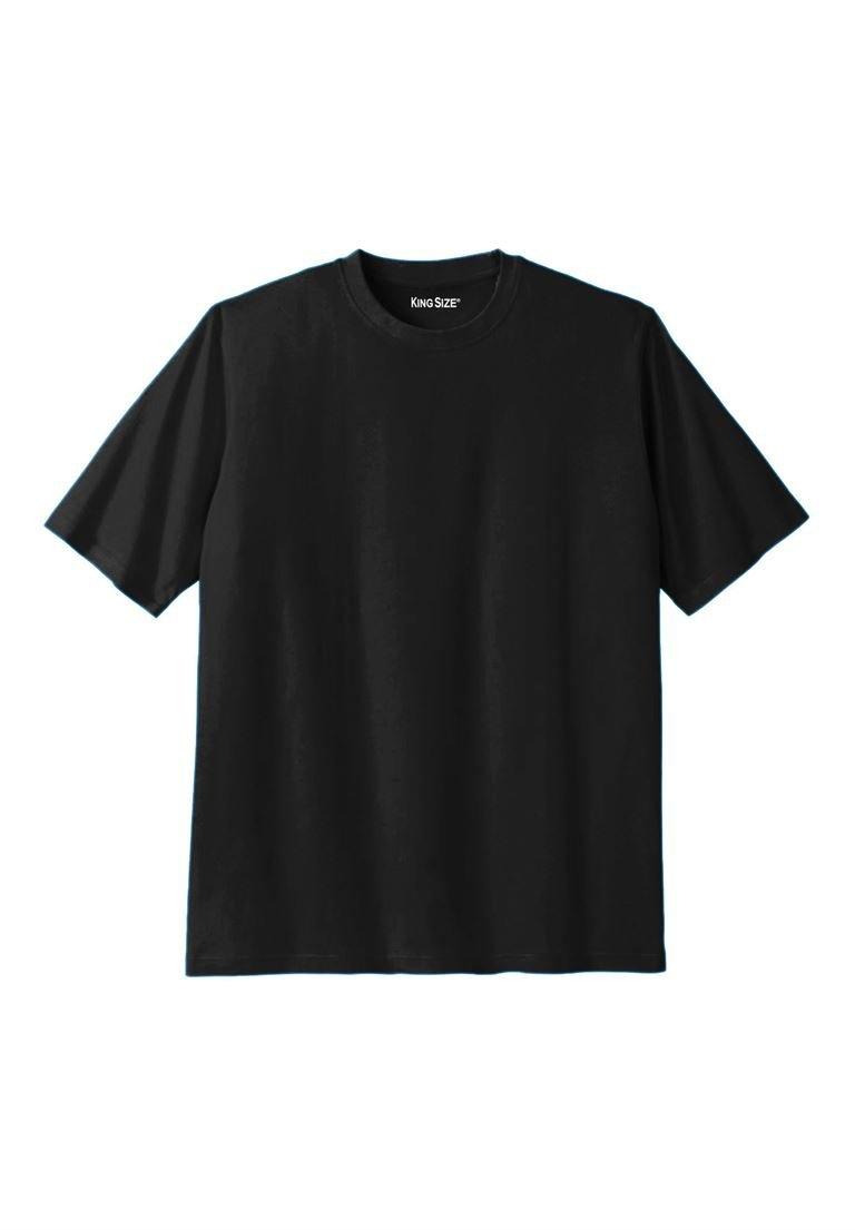 KingSize Men's Big & Tall Lightweight Crewneck Cotton Tee Shirt, Black Tall-7Xl by KingSize (Image #1)