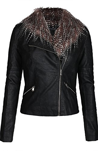 Leather Coat With Fur Collar - 7