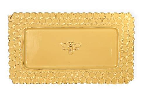 Honeycomb Dish - Honeycomb Bumble Bee Golden Yellow 13 x 8 Distressed Glossy Ceramic Platter