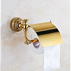 Gold Polished Bathroom Wall Mounted Solid Brass Toilet Paper Holder