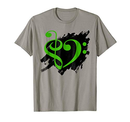 Treble Clef Bass Clef Green Heart Grunge Brush Strokes Music Lover Bassist T-Shirt