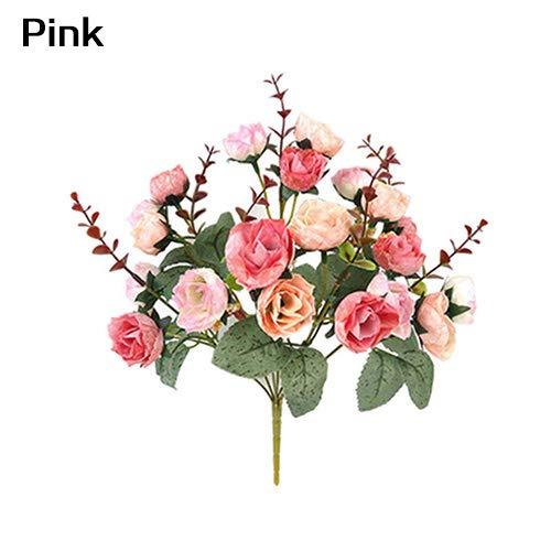 WskLinft 造花 バラの花 1束 21本の花 ホームウェディング装飾 レッド ピンク WskLinft B07PKCSHG8 ピンク