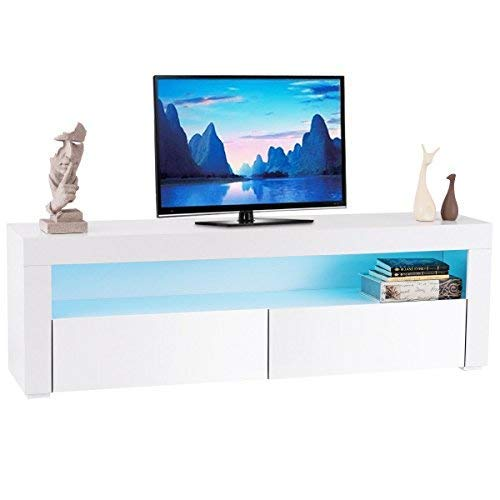 Tangkula Modern TV Stand High Gloss Media Console Cabinet Entertainment Center with LED Shelf and Drawers (White) (Gloss High Modern)