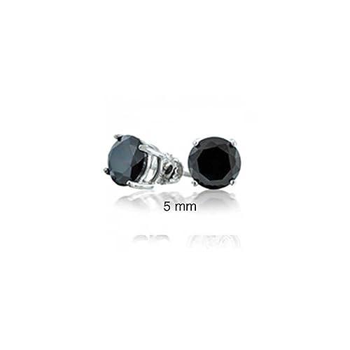 Bling Jewelry Simulated Onyx CZ Screw Back Post Stud earrings 925 Sterling Silver 5mm 79KEAXJl