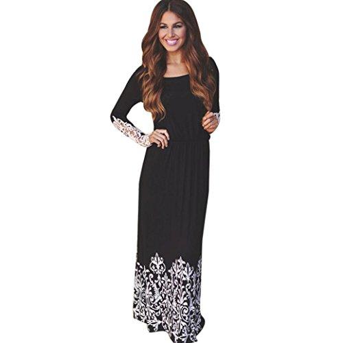 VESNIBA Women Lace Long Sleeve Party Evening Cocktail Maxi Long Dress (L, Black) (Tuxedo Adult Womens Costume Kit)