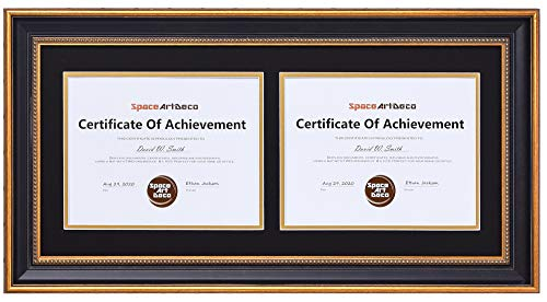 Space Art Deco Ornate Gold Black Horizontal Double Certificate/Diploma Frame - Black Over Gold Double Mat - for Two 8.5 x 11 Certificates and Diplomas- Sawtooth Hangers - Wall Mount - Glass (Ornate)