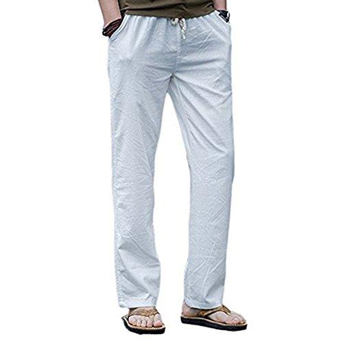 Blanc Lin De Long Loisirs Fliegend Doux Avec Pantalon Lâche Homme Respirant D'été En 6 Plage Cordon M Couleurs Casual 3xl Confortable Léger AIx51vx