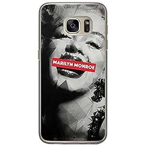 Loud Universe Samsung Galaxy S7 Marilyn Monroe Printed Transparent Edge Case - Grey/Black