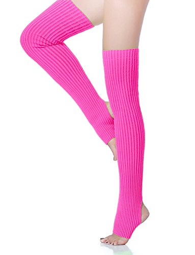 - V28 Women Over Knee Cable Knit Ribbed Crochet Long Boot Leg Warmers (H71 Rose)