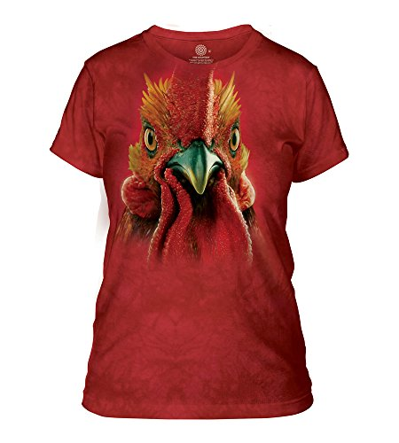 The Mountain Rooster Head Adult Woman's T-Shirt, Red, Large