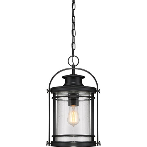 Black 18 Inch Outdoor Pendant - Quoizel BKR1910K Booker Outdoor Lantern Pendant Lighting, 1-Light, 150 Watts, Mystic Black (18