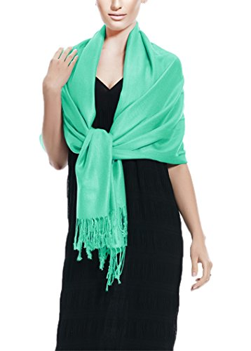 Peach Couture Soft and Silky Bamboo Rayon Pashmina Feel Shawl Scarf Wrap (Water Blue)