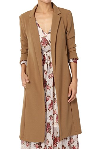 TheMogan Solid Longline Blazer Day to Night Sleek Open Front Duster Long Jacket