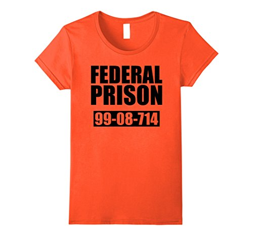 Prisoner Halloween Costume Ideas (Womens Federal Prison - Inmate Prisoner Halloween Costume T-Shirt Medium Orange)