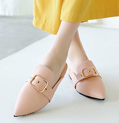 Slip New Dress Comfy Shoes Pink Womens Toe Slide Strap Buckle Closed Mules Aisun On Sandals awxEqT