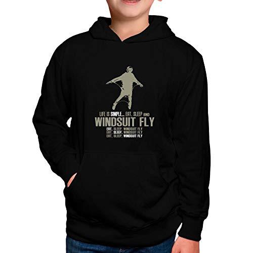 Idakoos Life is Simple eat, Sleep, Windsuit Fly Boy Hoodie 8 Black