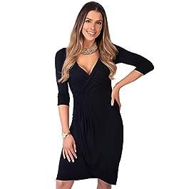 KRISP® WomenV-Neck Wrap Dress Midi Knee Long 3/4 Sleeve Crossover Pencil Dresses Casual Party Clubbing Office Dresses Plain