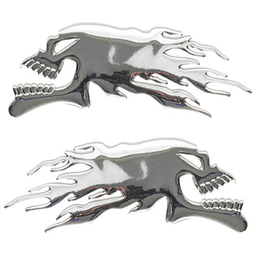ZAIXU 2Pcs/Pair 3D Raise Ghost Flaming Skull Head Emblem Stickers 6