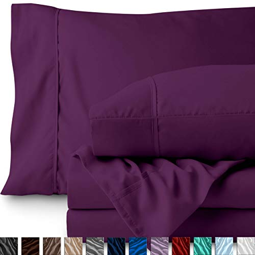 Bare Home King Sheet Set - 1800 Ultra-Soft Microfiber Bed Sheets - Double Brushed Breathable Bedding - Hypoallergenic - Wrinkle Resistant - Deep Pocket (King, Plum) (Red Plum Linen)