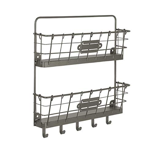 Spectrum Diversified Vintage Wall Mount Office or Entryway 2-Tier Letter Holder Organizer & Key Rack One Industrial Gray