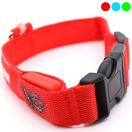 Sick Products LED Dog Collar, USB Rechargeable Light Up Pet Collar, Glowing Night Safety Collar Lights Up for Small and Medium Size Dogs
