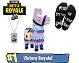 S-A Goods Fortnite Loot Llama Supply Drop with 14'' Llama Plush, Necklace, and 'Do Not Disturb' Socks. !Victory Royale! No skulltrooper