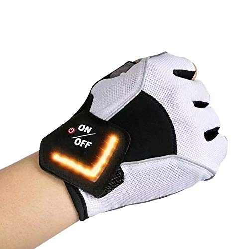 Motorcycle Gloves with LED Turn Signal Half Fingers PU Leather Nylon Outdoor Sport Racing Travelling Wearable Tactical Guantes