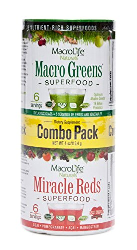 MacroLife Naturals Superfood Macro Greens and Miracle Reds, Combo Pack - 2 (Macrolife Naturals Macro Greens)