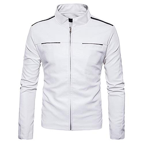 Collar Imitation Outdoor Coat Pocket Softshell Stand Zipper Leather koiu❀❀Men's Jackets Men's Symmetrical Jacket Give White HwPqv5Cn
