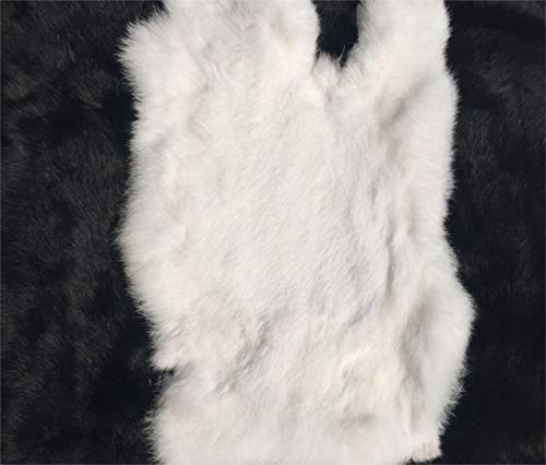 """1pcs Natural White Craft Grade Rabbit Fur Pelt (10"""" by 12"""" Rabbit Pelt with Sewing Quality Leather) (Natural White)"""