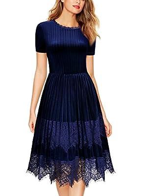 Miusol Women's Scoop Neck Flare Lace Contrast Pleuche Slim Business Dress