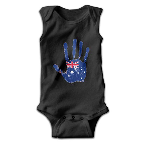 Sahaidak Baby Boys' Girls' Cotton Bodysuits Handprint Australian Flag Sleeveless Romper Onesie Jumpsuit