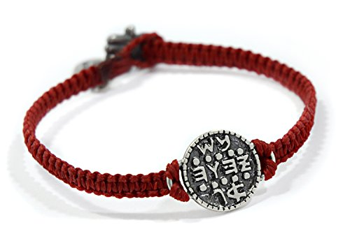 Solomon Seal Wishes Amulet on Hand Woven Red Charm Bracelet