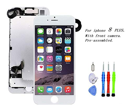 Premium Screen Replacement Compatible with iPhone 8 Plus 5.5 inch Full Assembly - LCD 3D Touch Display digitizer with Front Camera