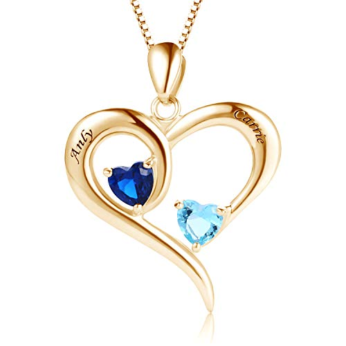 MissNity 925 Sterling Silver Personalized 2 Heart Simulated Birthstone Engraved Names Necklace 14k Gold Plating for Women Mother Couples Promise Pendant Jewelry (Golden) ()