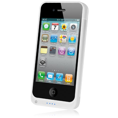 Naztech iPhone 4 , 4s 1450 mAh MFi Apple Certified Portable Battery Charger Case- Retail Packaging - White