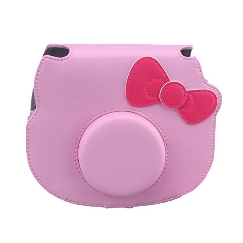 Insho Cute PU Leather Instant Camera Case Bag for Fujifilm Instax Hello Kitty Instant Camera - Pink by INSHO