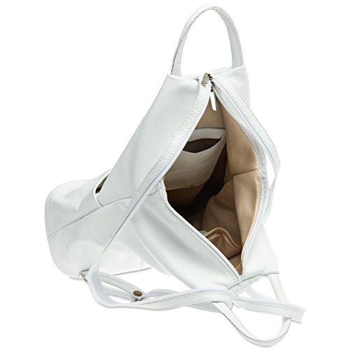 TL782 Shoulder in City Bag Leather made of 1 Backpack Women 2 White CASPAR Genuine xZTpqw0x